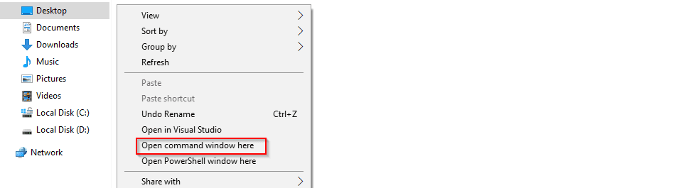 How to get 'Open command window here' menu option back in