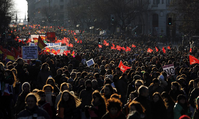 Public workers, small political parties and non-profit organisations stage a protest against government austerity on February 23, 2013 in Madrid. (AFP Photo / Pierre-Pholippe Marcou)