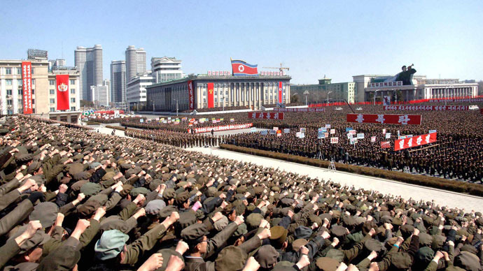 North Koreans including soldiers attend a rally in support of North Korean leader Kim Jong-un's order to put its missile units on standby in preparation for a possible war against the U.S. and South Korea, in Pyongyang March 29, 2013.(Reuters / KCNA)