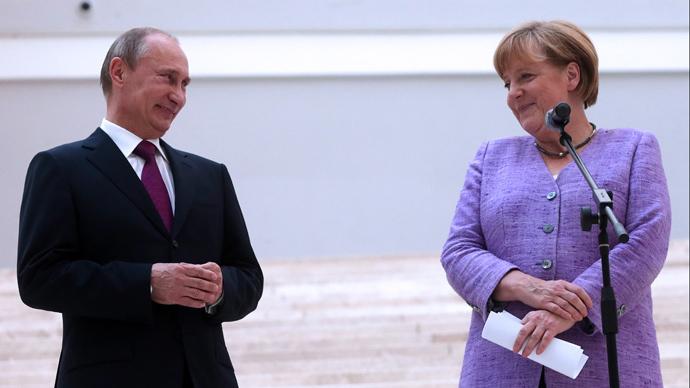 Russia's President Vladimir Putin and German Chancellor Angela Merkel (AFP Photo / Pool / Anatoly Maltsev)