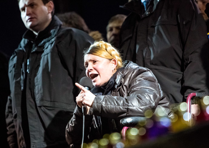 Former Ukrainian Prime Minister Yulia Tymoshenko, freed from prison, while making a speech on Independence Square in Kiev. (RIA Novosti/Andrey Stenin)