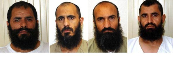 This combo photo shows (from left) Mohammad Fazl, Mohammed Nabi, Khairullah Khairkhwa and Abdul Haq Wasiq, the Guantanamo detainees released by the Obama administration in exchange for Sgt. Bowe Bergdah. (Images from wikipedia.org)