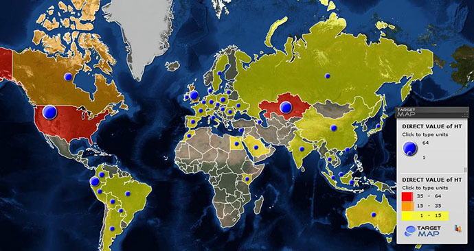 Map showing the countries of the current HackingTeam servers' locations (Image from securelist.com)
