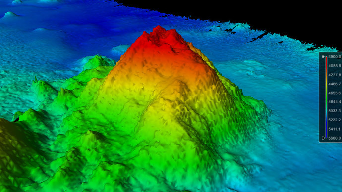 Three-dimensional view of the southwest side of the seamount with 23-degree slopes (University of New Hampshire Center for Coastal and Ocean Mapping/Joint Hydrographic Center)