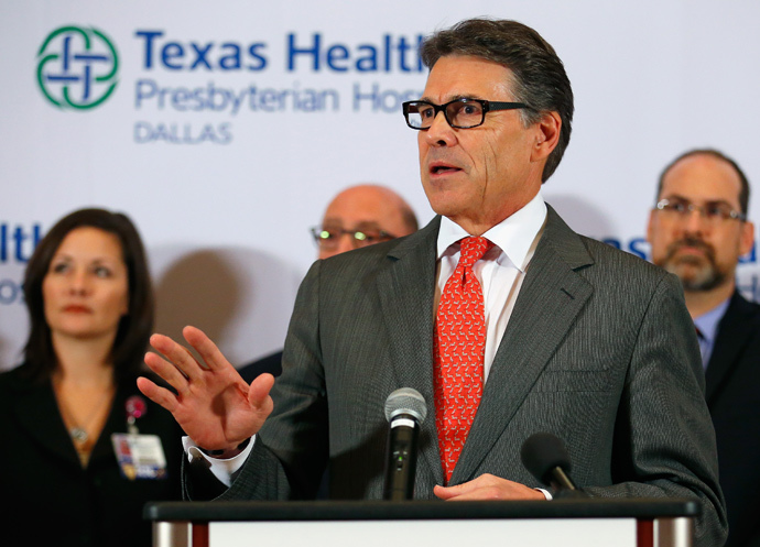 Texas Govenor Rick Perry answers questions related to the first confirmed case of the Ebola virus at Texas Health Presbyterian Hospital Dallas on October 1, 2014 in Dallas, Texas. (Tom Pennington / Getty Images / AFP)
