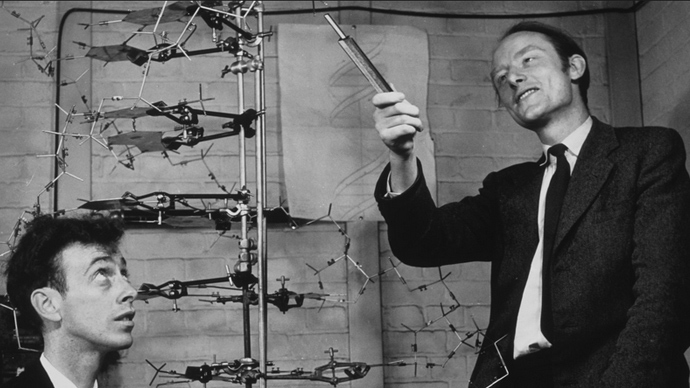 The iconic image of Watson and Crick giving a presentation on DNA in 1953 at Cambridge University.