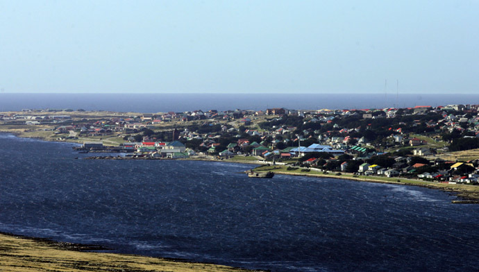 View of Stanley from Mount Longdon, Falklands. (AFP Photo/Daniel Garcia)