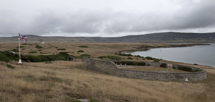 View of the British military cemetery in San Carlos Village in the Falkland Islands. (AFP Photo/Martin Bernetti)