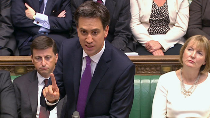 Britain's opposition Labour leader Ed Miliband is seen addressing the House of Commons in this still image taken from video in London August 29, 2013.(Reuters / UK Parliament via Reuters TV)