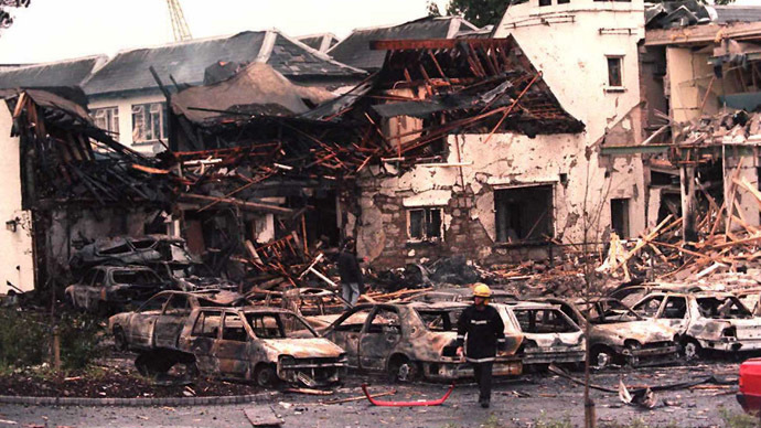 The remains of the Killyhelvin Hotel, Enniskillen, after a car bomb exploded the hotel, 14 July. It is the first bombing in Northern Ireland since the IRA ceasefire in 1994. Forty people were taken to hospital and many cars were wrecked. (AFP Photo)