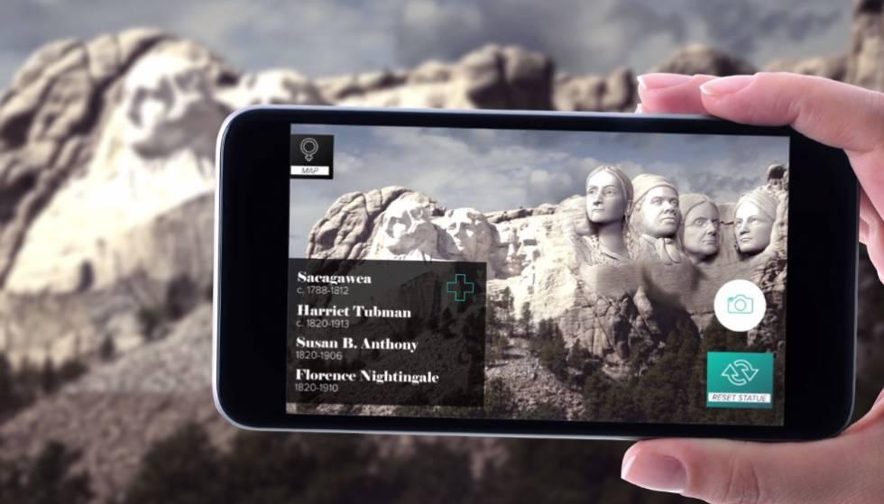 Susan B. Anthony, Florence Nightingale, Harriet Tubman y Sacagawea en el monte Rushmore.