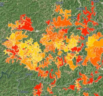 Proyecto de Skytruth que recoge la huella de la extracción de carbón en las montañas