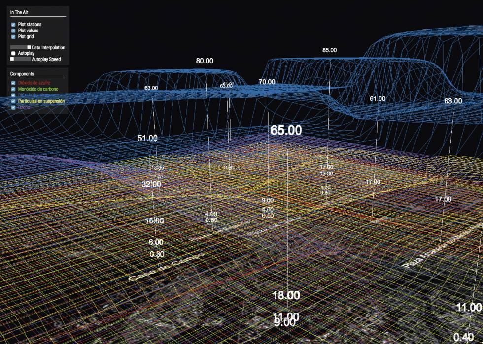 Partiendo de los datos y gráficas que el Ayuntamiento de Madrid proporciona, a partir de las diferentes estaciones de medición de la calidad del aire, Calvillo dibuja con In The Air cada uno de los elementos que la forman: dióxido de azufre, monóxido de carbono, dióxido de nitrógeno, ozono y partículas en suspensión. El ciudadano puede descifrar de manera más sencilla, gracias al dibujo, y casi en tiempo real, cómo es la contaminación que le rodea