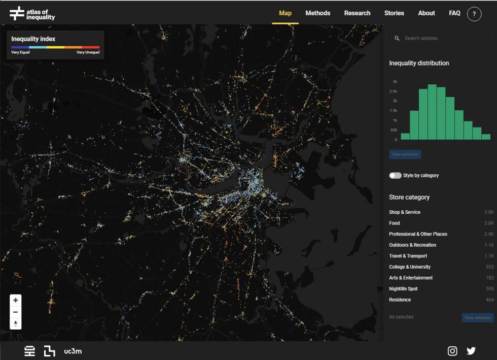 Pantallazo del 'Atlas de la desigualdad'