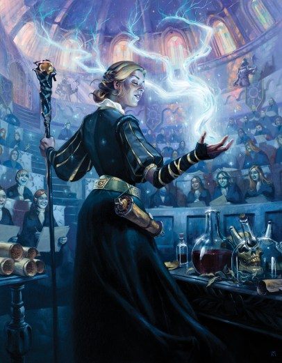 The cover image of Tome of Chaos. A Sorceress demonstrates a spell to a group of students.