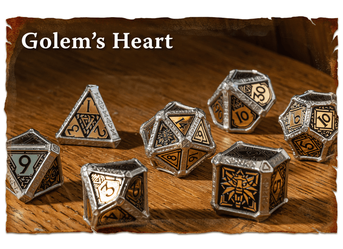 Hybrid dice from Q workshop. Metal with composite inserts. Adorned with Witcher symbols and imagery.