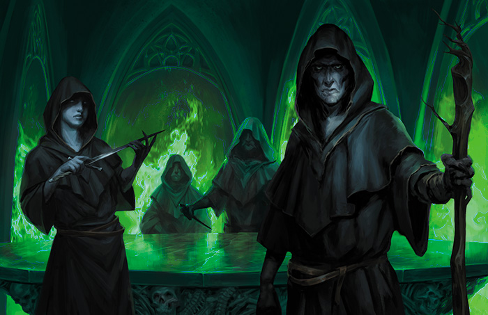 Four sinister figures in robes lurk around a table in a foreboding chamber.