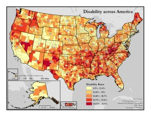 Map of disability rates by county across the U.S.