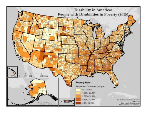 This is a map of the United States which depicts poverty rates among people with disabilities by county. A text description of this map is included in the webpage content.