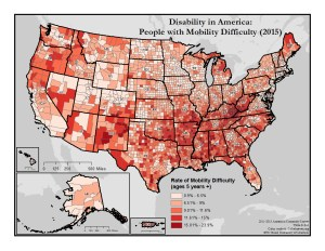 This is a map of the United States which depicts rates of mobility difficulty by county. A text description of this map is included in the webpage content.