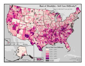 This is a map of the United States which depicts rates of self-care difficulty by county. A text description of this map is included in the webpage content.
