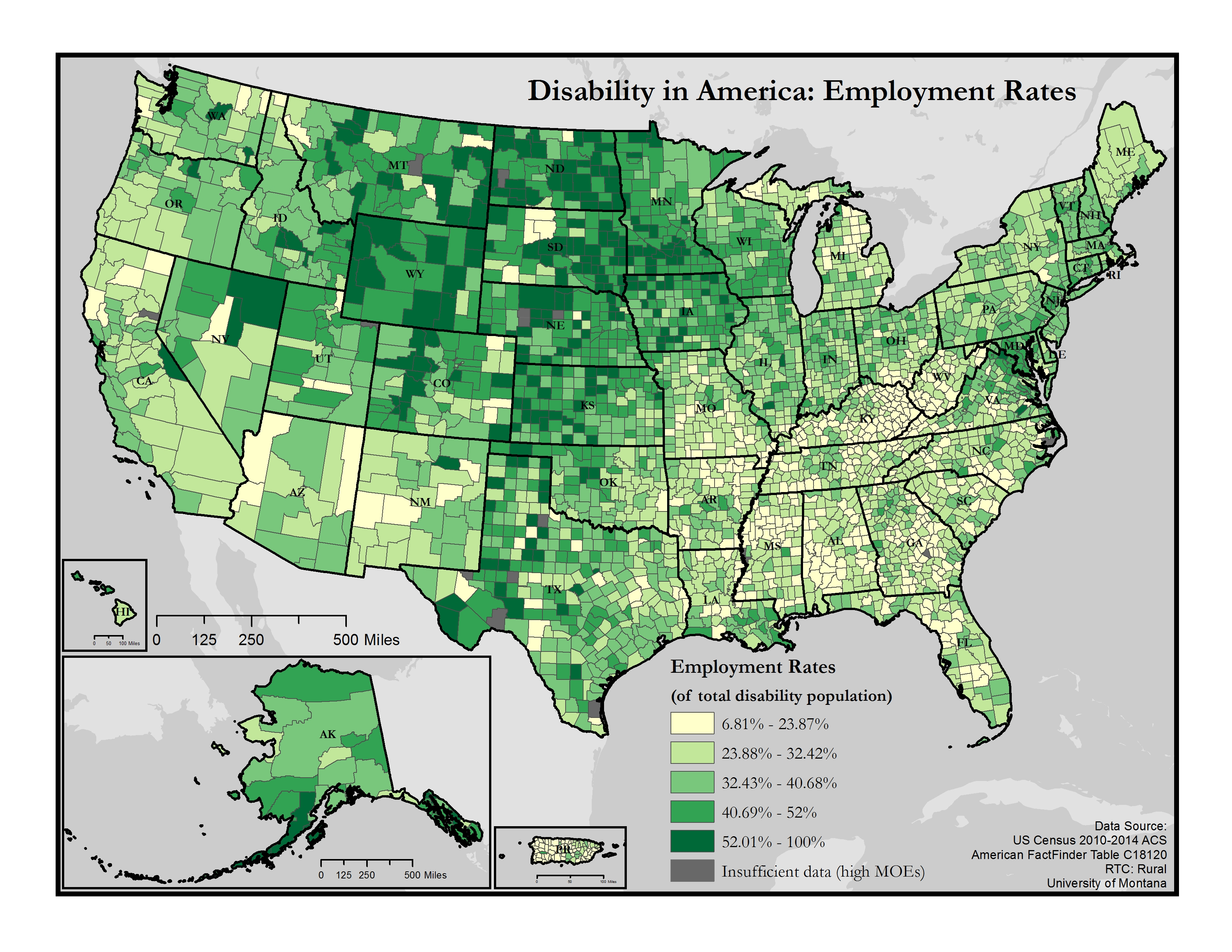 this is a map of the united states which depicts employment rates among people with disabilities