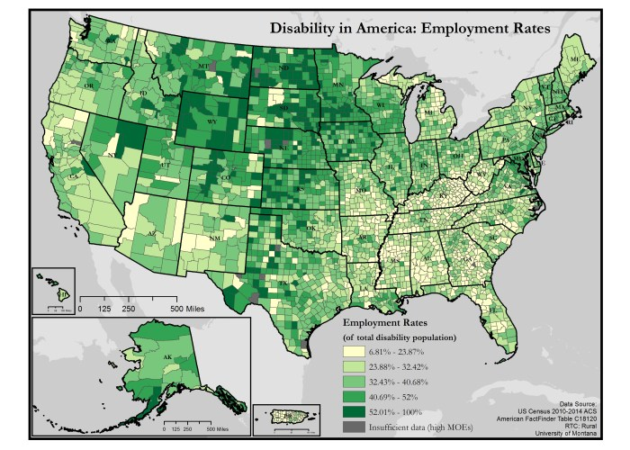 map of employment rates of people with disabilities in the US - click the link in this article for a full text description of the map