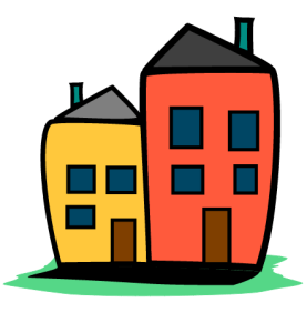 icon of two cartoon homes placed side-be-side