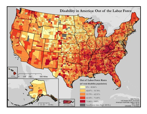 This is a map of the United States which depicts out of labor force rates among people with disabilities by county. A text description of this map is included in the webpage content.