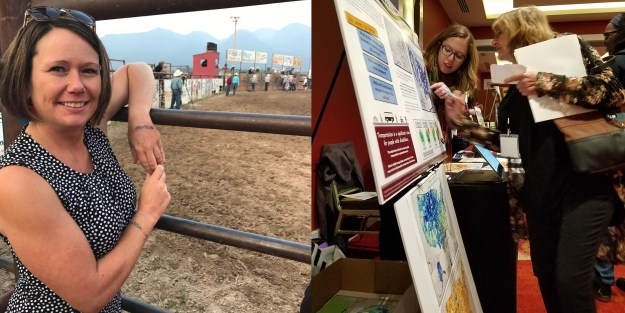 On the left, Dr. Rayna Sage stands in front of a rodeo enclosure; on the right, Lillie Greiman points at a map on a poster and discusses the map with a woman standing in front of her.