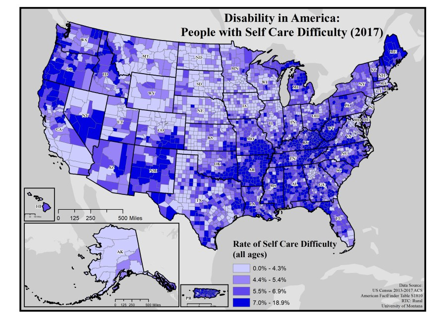 Map of rates of self-care difficulty by county across the US.