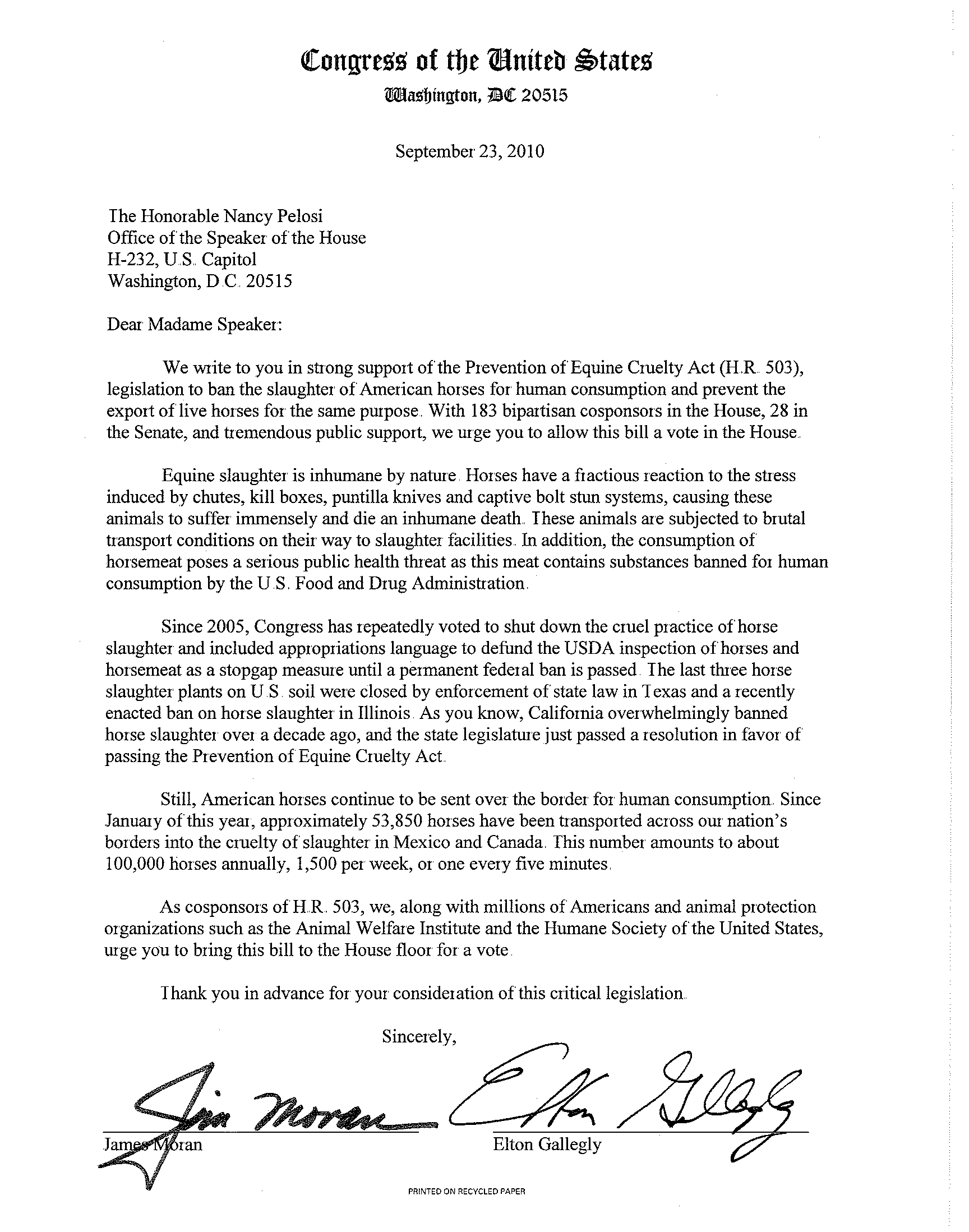 Respect4horses Congressional Letter Page 1