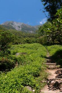 Der Wanderweg mit dem Namen Zhuilu Old Road führte uns an den Nordhängen der Schlucht hinauf in die Berge. Da er sich von der Straße entfernt und in das Gebiet des Taroko Nationalparks vordringt braucht man für diese Route jeweils eine Genehmigung von der Parkverwaltung und eine Berggenehmigung von der Polizei. Diese sollte man am besten mindestens eine Woche im Voraus beantragen.