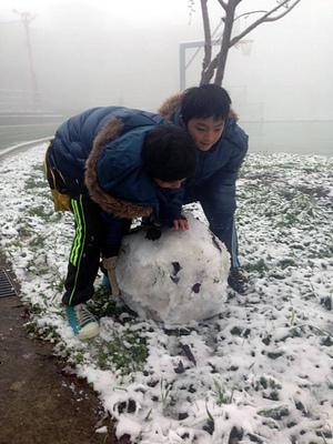 Vacances+neige = joie et bonhomme de neige