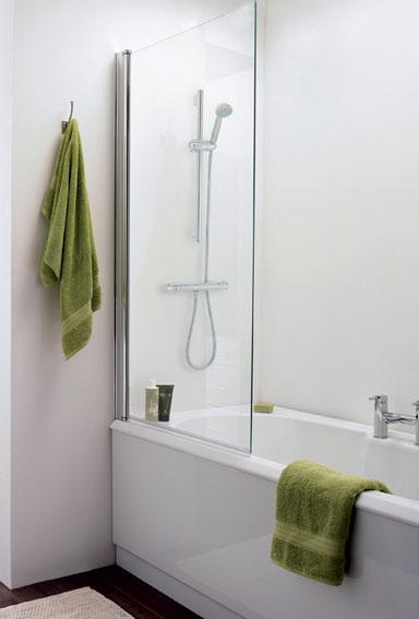 Straight Square Bath Screen - Silver