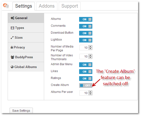 "Switch off ""Create New Album"" button."