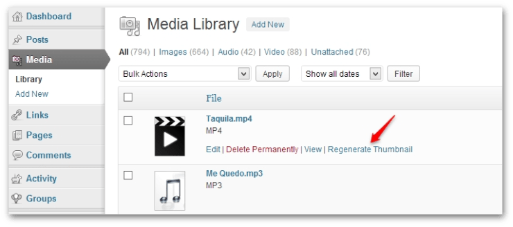 Regenerate thumbnail from media library
