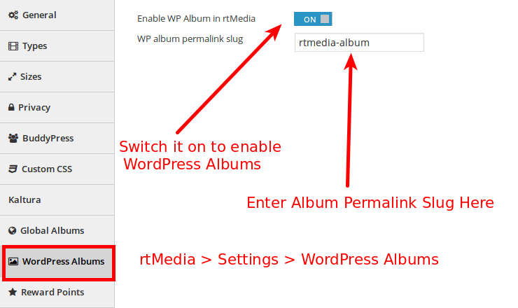 WordPress Album Settings