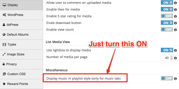 Playlist-Style Display Setting
