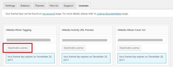 Deactivate license wp backend