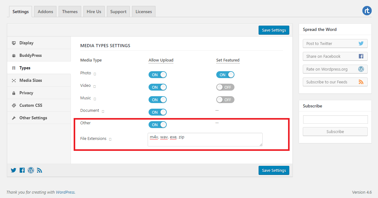 Enable docs and other files settings page