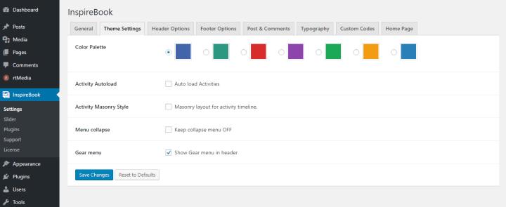 Theme settings Inspirebook