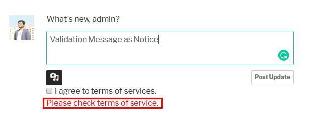 Validation Message as Notice