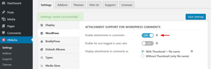 wordpress comment media attachment support