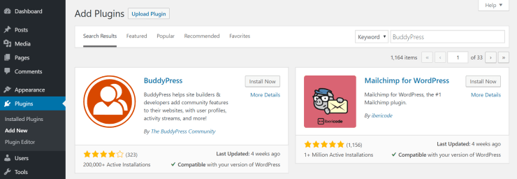 install buddypress plugin from wordpress dashboard