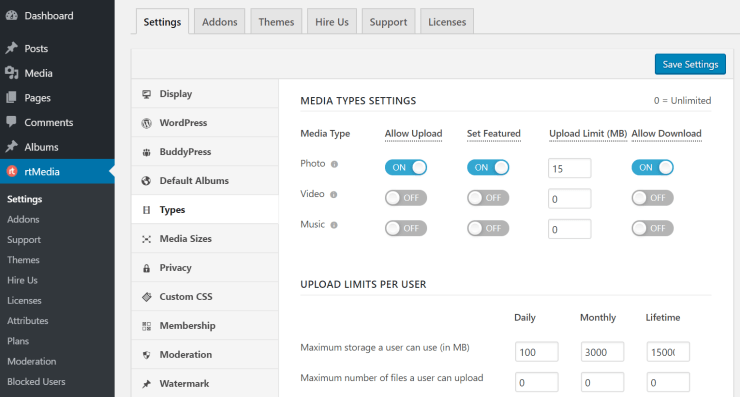 rtmedia types settings