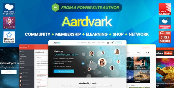 Aardvark - Best WordPress and BuddyPress theme for Community, Membership, eLearning, and Online Store