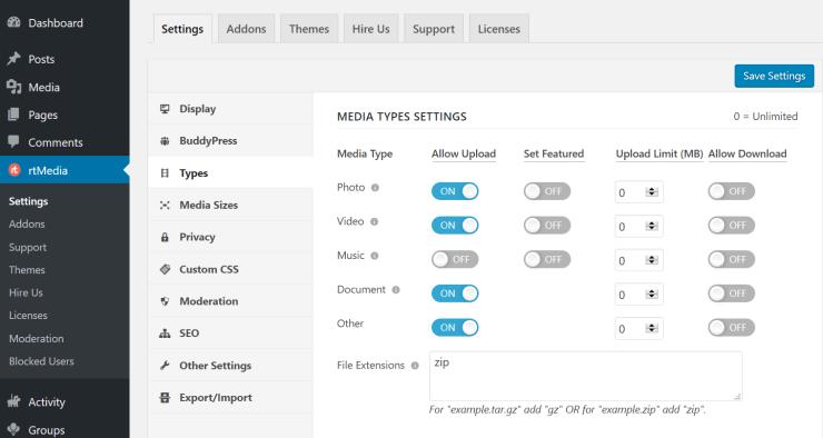 rtmedia types