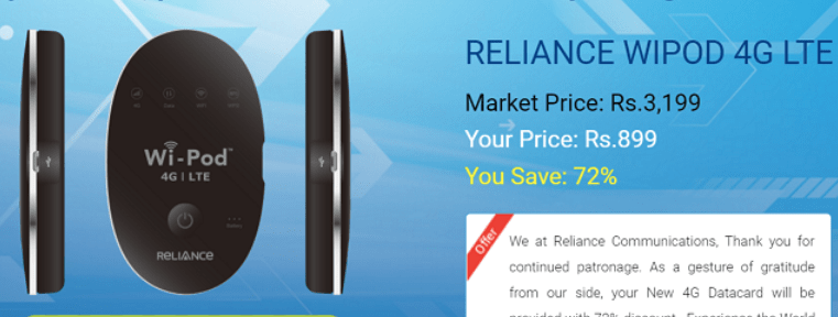 RELIANCE JIO TO GIVE 72% DISCOUNT ON PURCHASING ITS WI-POD DEVICE