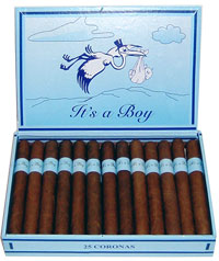 [Picture of gift cigars for birth of a boy]